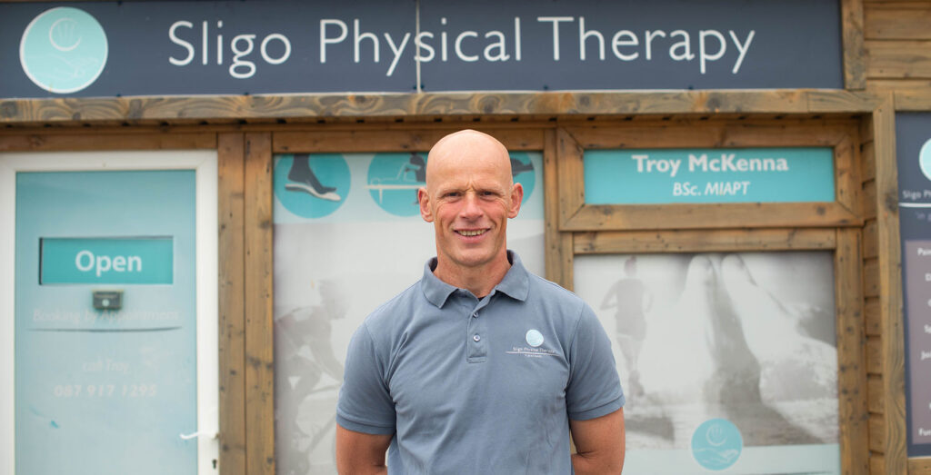 Physio Troy standing outside his Strandhill Physical Therapy/Physiotherapy practice